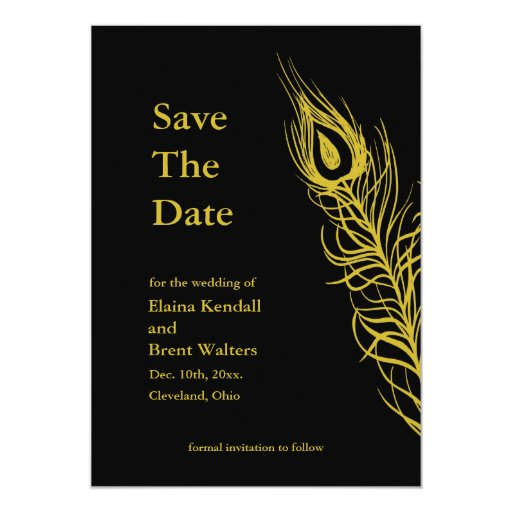 La sacudida de oro sus plumas de cola ahorra la invitación 12,7 x 17,8 cm