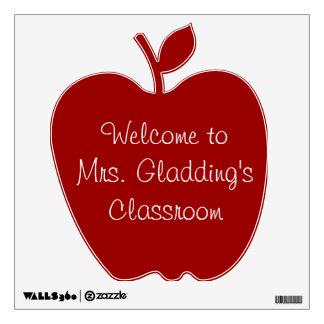 La sala de clase Apple rojo del profesor de encarg Vinilo