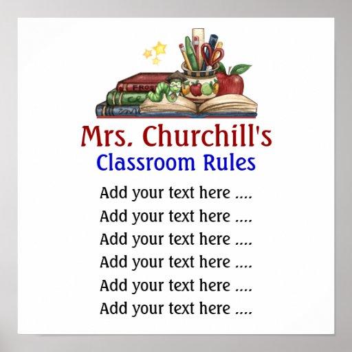 La sala de clase del profesor de escuela gobierna  poster
