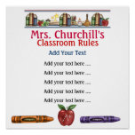 La sala de clase del profesor de escuela gobierna  impresiones