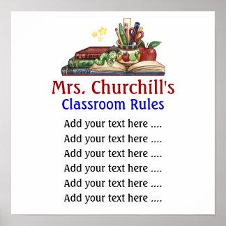 La sala de clase del profesor de escuela gobierna  posters