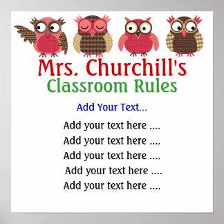 La sala de clase del profesor de escuela gobierna  póster