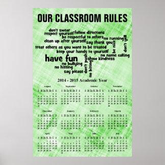 La sala de clase gobierna el calendario 2015 poster