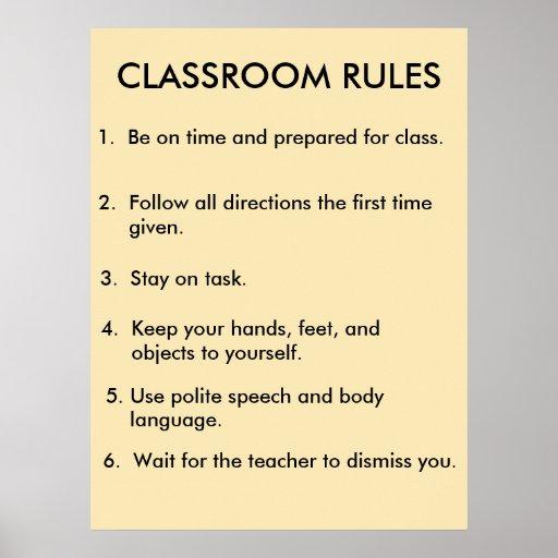 La sala de clase gobierna el poster 2,0