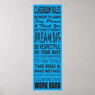La sala de clase gobierna el poster azul 12 x