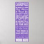 "La sala de clase gobierna el poster (púrpura), 12"""