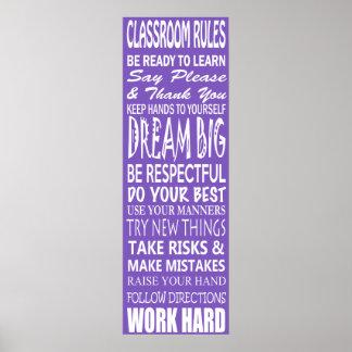 La sala de clase gobierna el poster púrpura 12