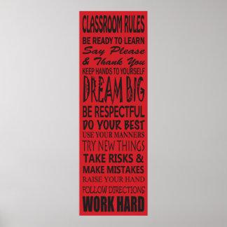 La sala de clase gobierna el poster rojo 12 x