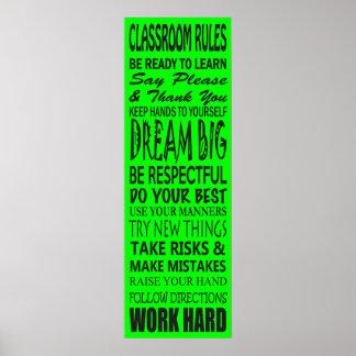 La sala de clase gobierna el poster (verde lima),