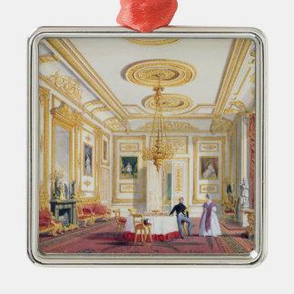 La sala de estar blanca en el castillo de Windsor Adorno Navideño Cuadrado De Metal