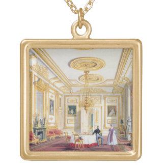 La sala de estar blanca en el castillo de Windsor  Colgante Cuadrado