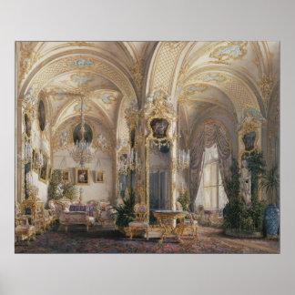La sala de estar en II rococó diseña, con los Cupi Póster