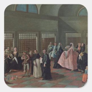 La sala que visita en el convento pegatina cuadrada
