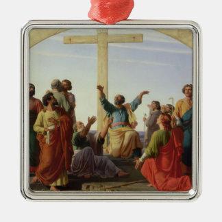 La salida de los apóstoles, 1845 adorno navideño cuadrado de metal