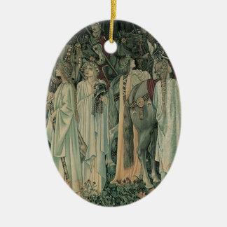 La salida de los caballeros adorno navideño ovalado de cerámica