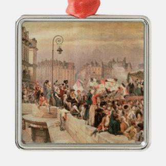 La salida de los voluntarios 1792 adorno navideño cuadrado de metal
