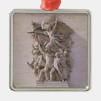 La salida de los voluntarios en 1792 o del marcha adorno navideño cuadrado de metal