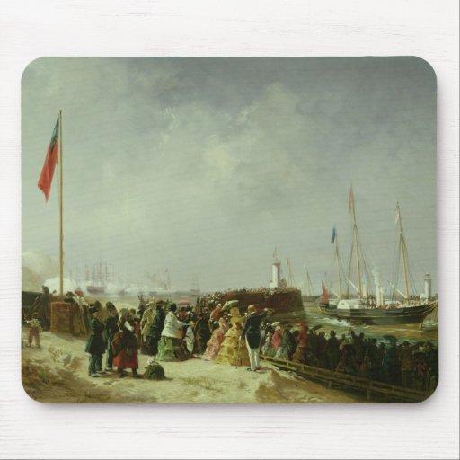 La salida del paquete del vapor en Boulogne Alfombrillas De Raton