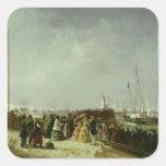 La salida del paquete del vapor en Boulogne Pegatina Cuadrada
