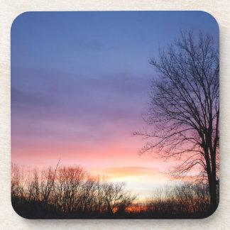 La salida del sol del invierno canadiense posavaso