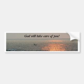 ¡La salida del sol, dios tomará el cuidado de uste Pegatina De Parachoque