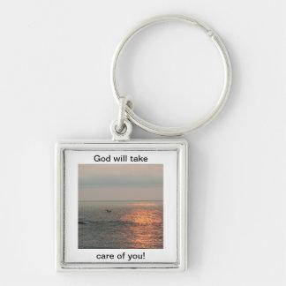 ¡La salida del sol, dios tomará el cuidado de uste Llavero Cuadrado Plateado