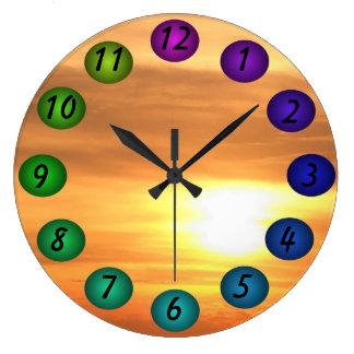 La salida del sol que flota los colores 3D diseña  Relojes De Pared