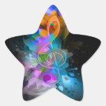 La salpicadura fresca colorida hermosa florece las pegatina forma de estrella