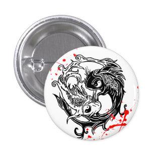 La salpicadura fresca Yin Yang Koi de la sangre pe Pin Redondo De 1 Pulgada
