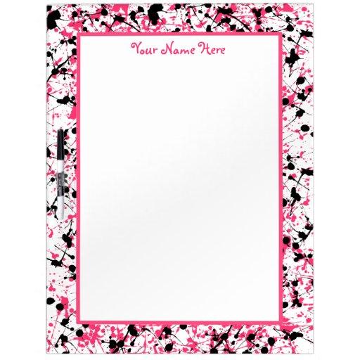 La salpicadura rosada y negra de la pintura grande pizarras blancas de calidad