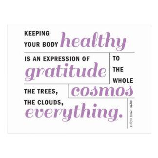 La salud es gratitud tarjeta postal