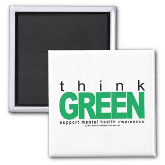 La salud mental piensa verde imán cuadrado