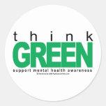 La salud mental piensa verde pegatina redonda