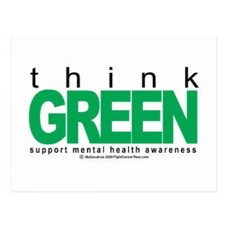 La salud mental piensa verde tarjeta postal