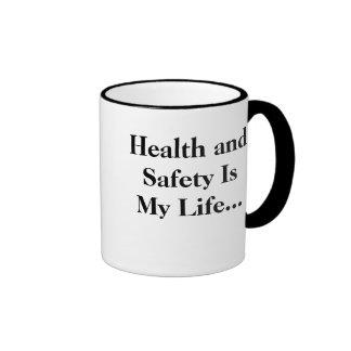 ¡La salud y la seguridad es mi vida - RETROCEDA! Taza De Dos Colores