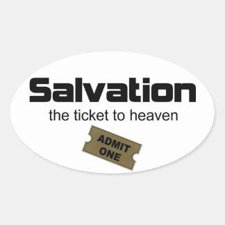 La salvación es el único boleto al cielo pegatina ovalada