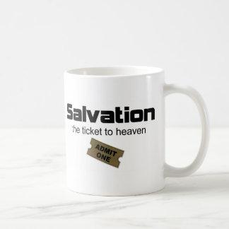La salvación es el único boleto al cielo taza básica blanca