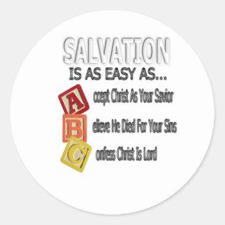 La salvación es fácil como ABC Pegatina Redonda