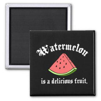 La sandía es una fruta deliciosa imán cuadrado