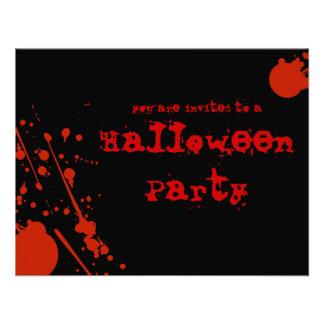La sangre del horror salpica todo el Halloween neg Invitaciones Personalizada