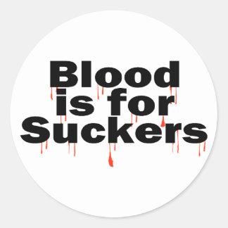La sangre está para los lechones pegatina redonda