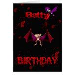 La sangre extravagantemente del cumpleaños golpea tarjeta de felicitación