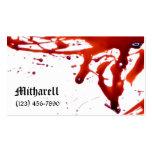 La sangre salpicó la tarjeta de visita