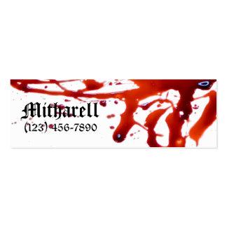 La sangre salpicó la tarjeta de visita flaca