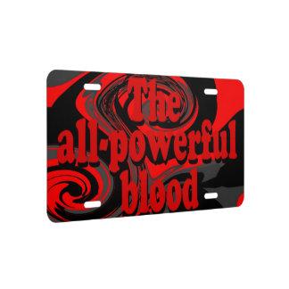 La sangre todopoderosa placa de matrícula