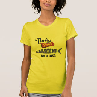 La sardina de Tim y del hijo cebo y tienda de los Camiseta