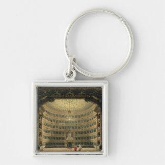 La Scala, Milano, durante un funcionamiento Llavero Cuadrado Plateado