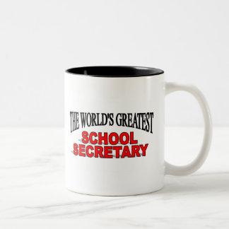 La secretaria más grande de la escuela del mundo taza de café de dos colores