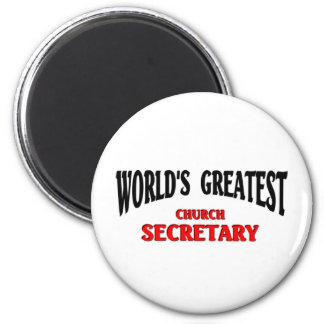 La secretaria más grande de la iglesia imanes de nevera