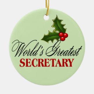 La secretaria más grande del mundo adorno navideño redondo de cerámica